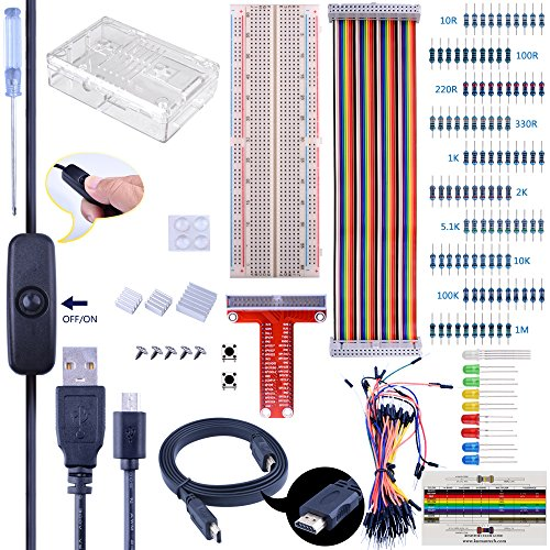 Quimat Complete Starter Kit for Raspberry Pi, Ultimate Project Kit with Prototype Breadboard, GPIO Extension Board, Ribbon Cable, On/Off Switch, Protective Case, Heat sinks and HDMI Cable by Quimat