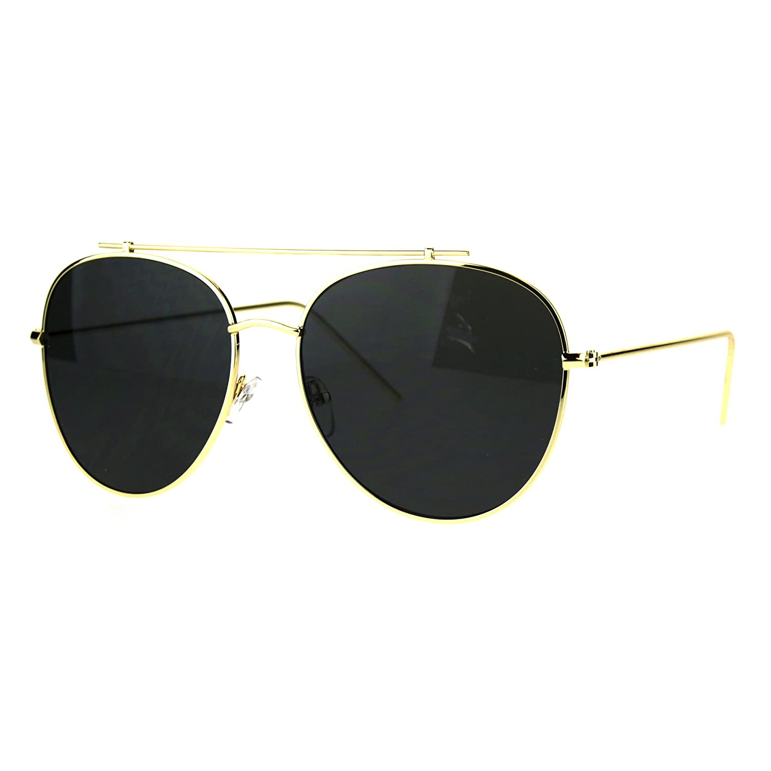 40dc9998837 Amazon.com  Flat Top Bar Aviator Sunglasses Oversized Fashion Aviators  UV400 Gold
