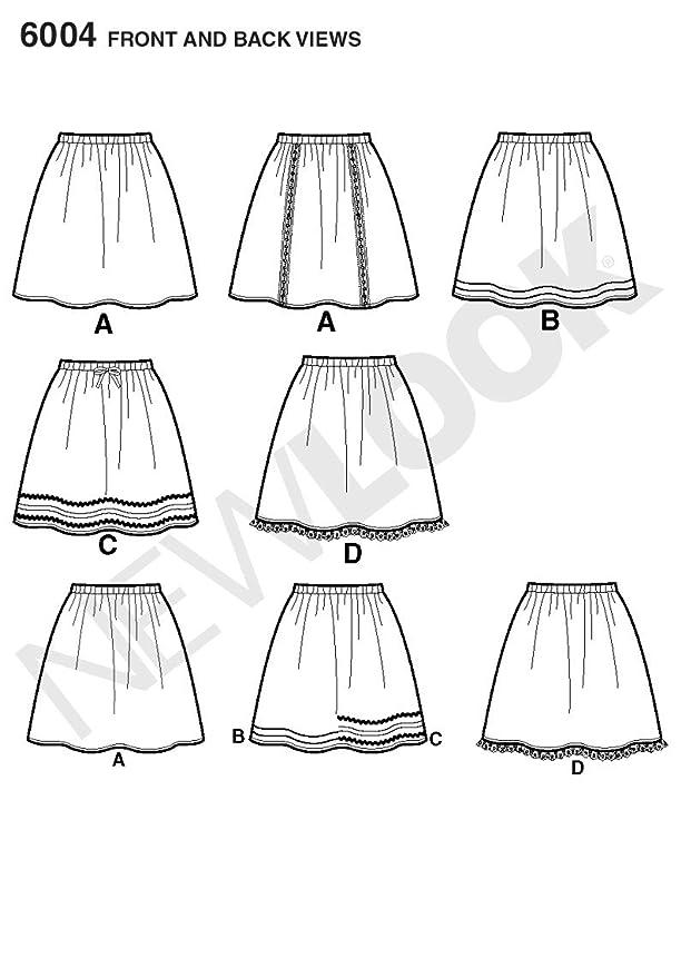 New Look 6004 - Patrones de costuras para hacer faldas (tallas 4, 6 ...