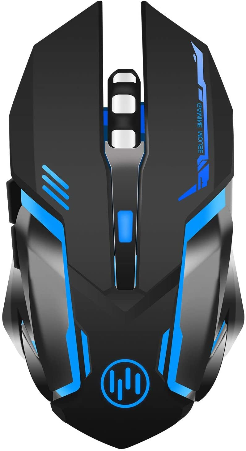 Wireless Gaming Mouse, Scettar Rechargeable Computer Gaming Mouse Unique Silent Click, 7 Breathing Led Light, 3 Adjustable DPI,Iron Plate, Power Saving Mode for Laptop/PC/Notebook