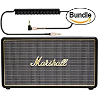Marshall Stockwell Portable Bluetooth Black Speaker with Red Velvet Lined Case (4091451) and HAVIT 6ft, 90 Degree Right Angle 3.5mm Audio Cable Cord (Bundle)