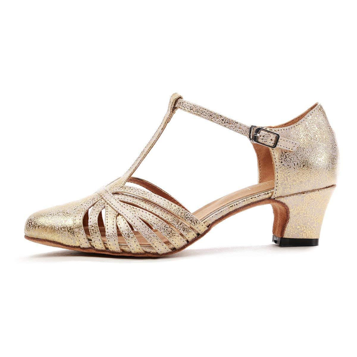 Qiusa GL259 Frauen T-Strap T-Strap T-Strap Mode Synthetische Latin Ballroom Dance Schuhe Party Pumps (Farbe   Gold-5cm Heel, Größe   2 UK) c1d1aa