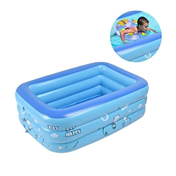 Leegoal Piscina Hinchable Bebe | Niños, Piscina Familiar Rectangular Desmontable en Casa | Jardin | Parque, Tamaño Interno 85x55cm: Amazon.es: Hogar