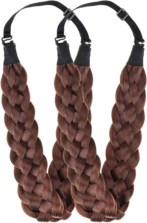 Chunky Hair Clip Bow Synthetic Extension Plaited Elastic Braided Band Pony Tail,