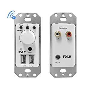 Pyle Bluetooth Receiver Wall Mount - In-Wall Audio Control Receiver w/ Dual USB Charging Port, 3.5mm AUX Input for Sound Systems - For Home Theater Entertainment - Includes DC Power Adaptor - PWPBT67