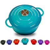 Enameled Cast Iron Dutch Oven With 360 Degree Water-Cycling System, Dual Handles (5.8 QT, Classical Turquoise)