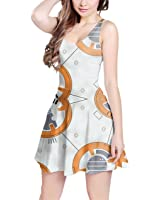 Little Round Droid Sleeveless Dress XS-3XL Skater Stretch Flare Dress