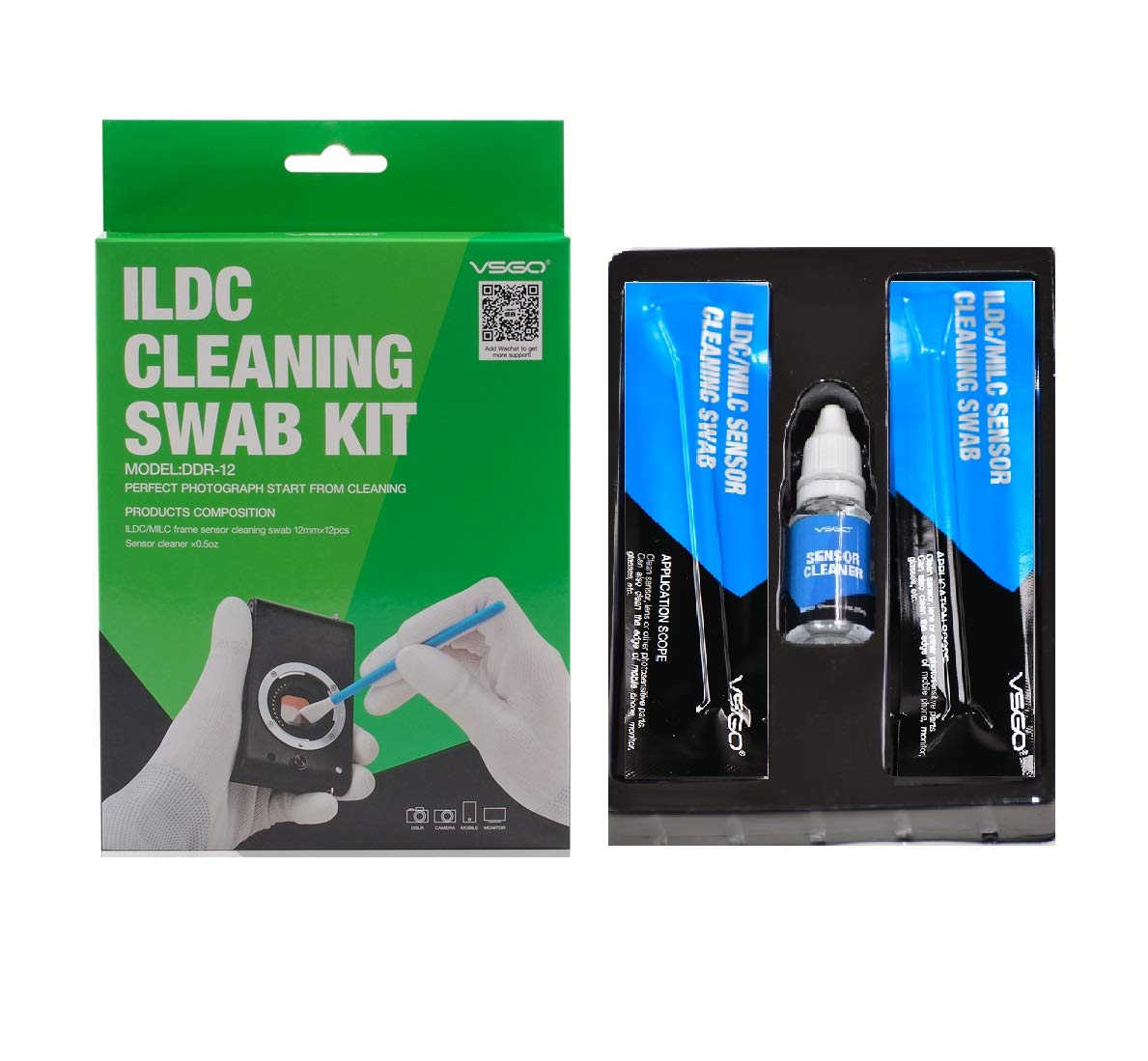 VSGO DDR-12 Sensor Cleaning Swab and Sensor Cleaner for Mirrorless (MILC) Cameras with Micro Four Thirds (MFT or M43) Sensor by VSGO