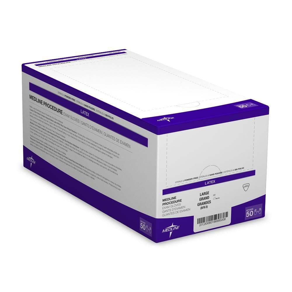 Medline MDS194036 Sterile Powder-Free Latex Exam Glove Pairs, 9'' Length, Large, Beige (Pack of 200) by Medline