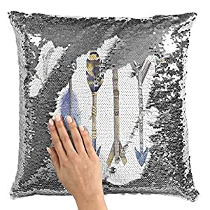 "Sequin Throw Pillow Tribal Feather Arrow Collection Pillow Printed White Silver Sequin - 16"" x 16"""