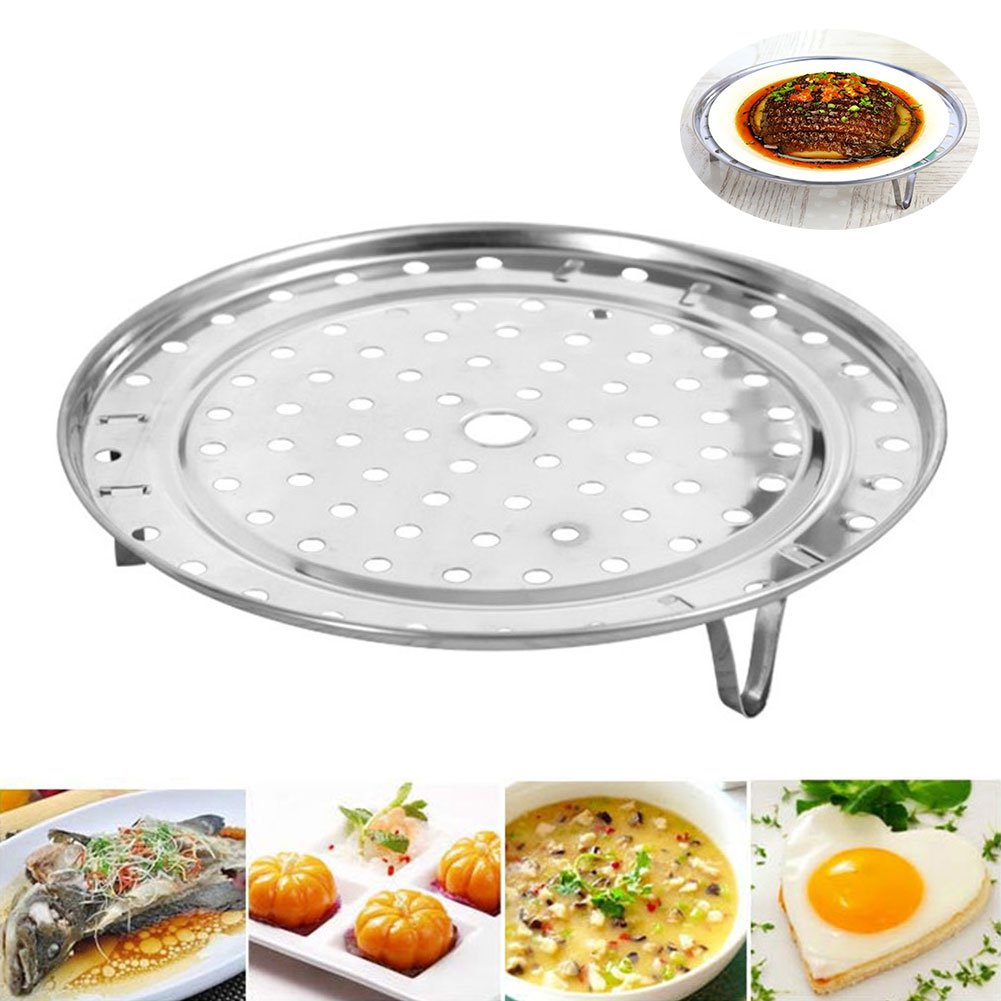 Stainless Steel Steam Basket Rack and Cooling Rack Cooking Round Pressure Cooker Food Steamer with Detachable Legs Insert Pot for Cooking,Toast,Bread,Salad,Baking (L) by YOEDAF (Image #7)