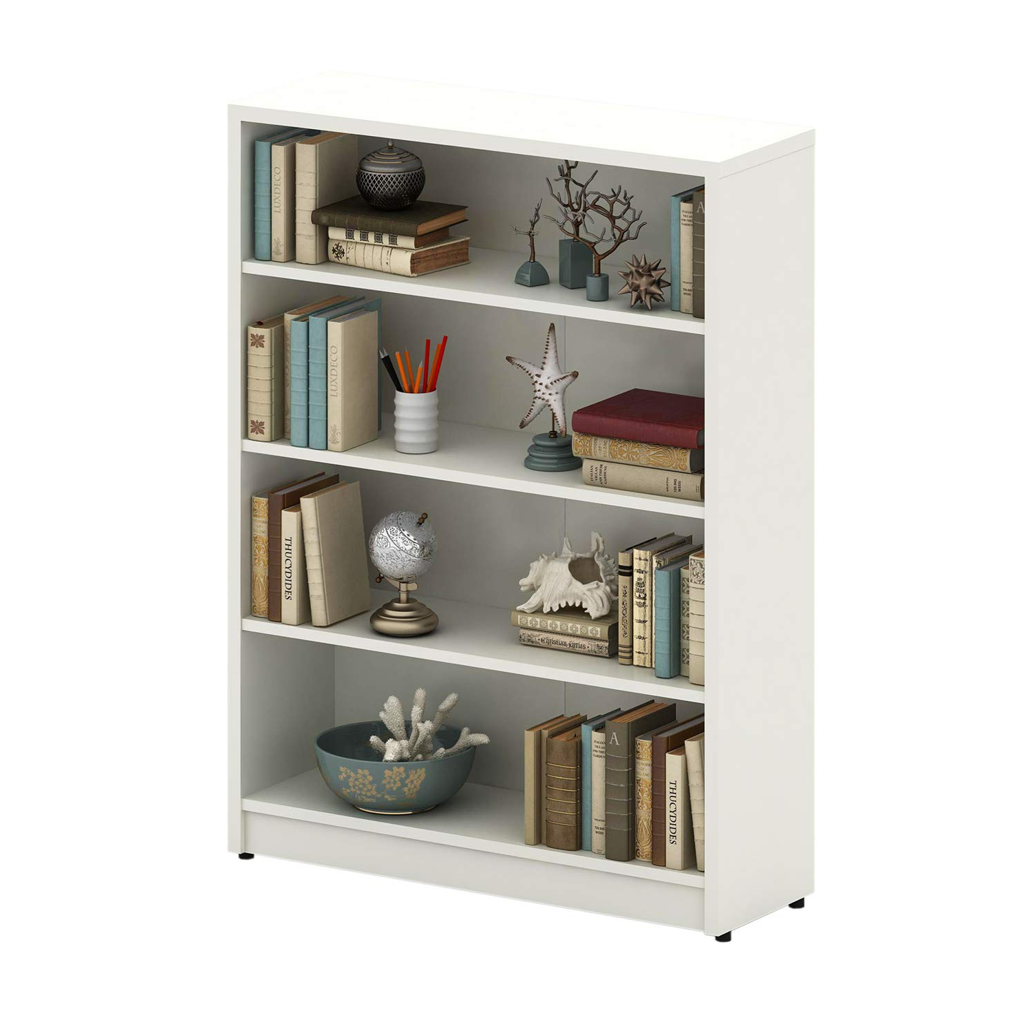 4-Tier, Mahogany Sunon Collection Wood Bookcase Freestanding Display Shelf for Home and Office