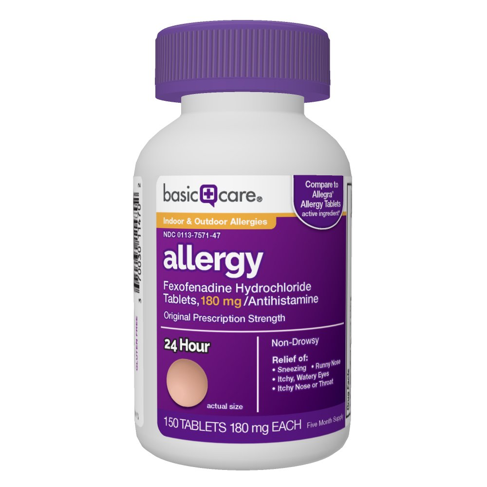 Basic Care Allergy, Fexofenadine Hydrochloride Tablets, 180 mg, 150Count by Basic Care