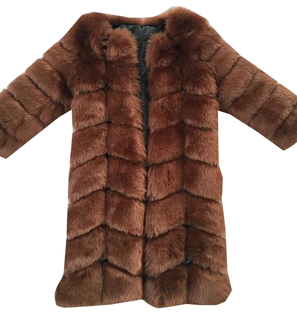 Coffee Sanderso Womens Faux Fur Coat Parka Jacket Trench Warm Thick Outerwear Overcoat