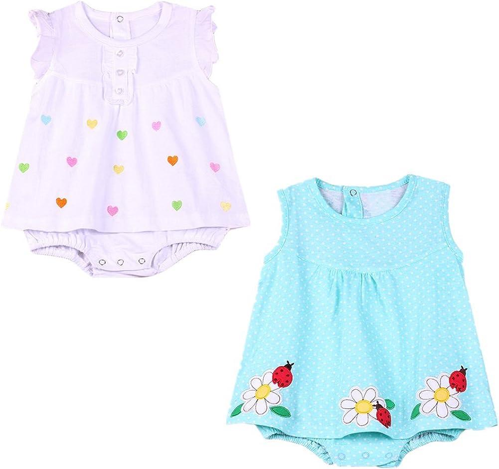JIEYA 4-Pack or 2-Pack Baby Girls Dresses Assorted Sleeveless Bodysuit Onesies