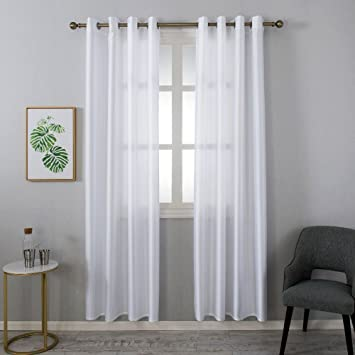 Grace Duet Sheer Curtains Airy Gauzy Window Treatments Panels White Window  Curtains for Bedroom Curtain Sheer White 1 Panel (54 x84, White)