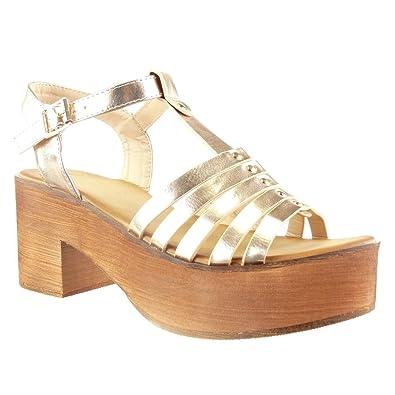 f71084793821eb Angkorly - Chaussure Mode Sandale salomés Plateforme Femme Multi-Bride  clouté Bois Talon Haut Bloc
