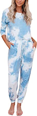 2Pcs Outfits Women Tie-Dye Sweatsuit Set Long Sleeve Top Drawstring Sweatpants Sports Home Suit