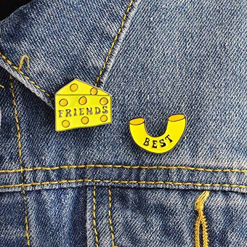 LFDHZ 2PCS/Set Macaroni and Cheese Block pins Set 1 Pair Cheese pins and brooches Badges Hard Enamel pin Best Friends pin -