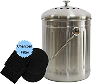 4W Stainless Steel Compost Bin, 1.3 Gallon Indoor Compost Bin for Kitchen Counter Odorless Design with 4 Charcoal Filters and Lid for Home Food Waste and Composting