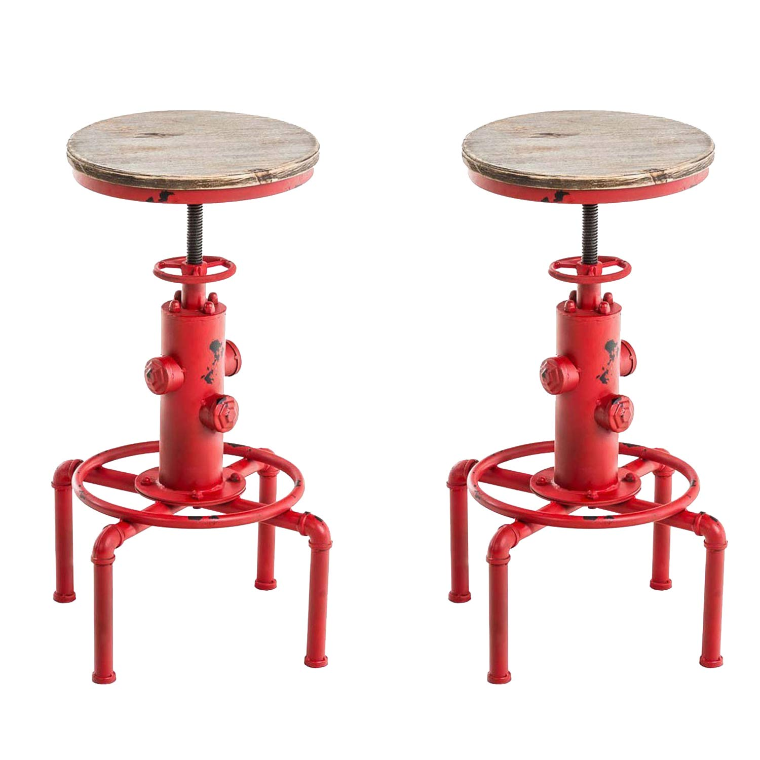 Topower American Antique Vintage Industrial Barstool Solid Wood Water Pipe Fire Hydrant Design Cafe Coffee Industrial Bar Stool Set of 2 (Antique Red, 2)