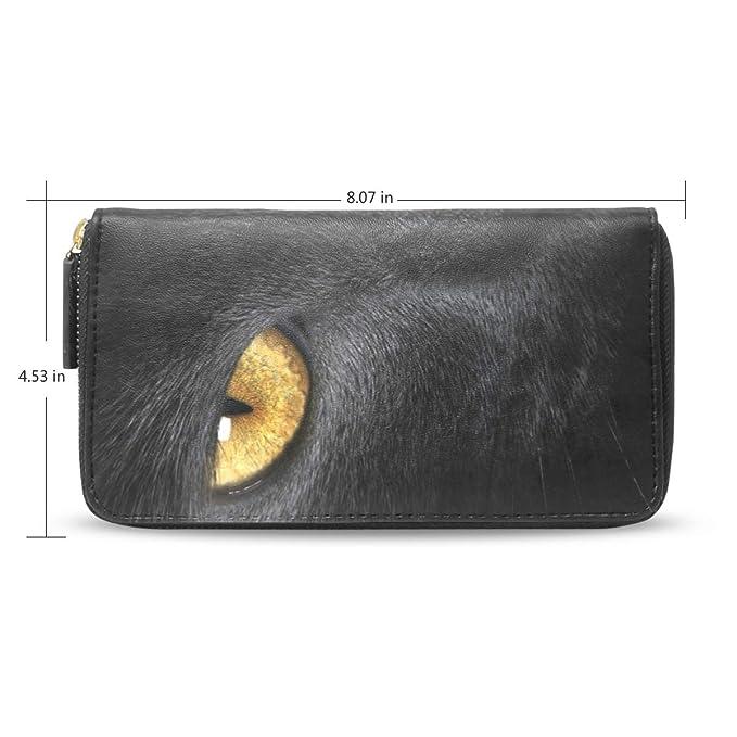 c91f8c52236d Women Wallet Purse Black Cat Yellow Eye Clutch Bag Zipper Leather at ...