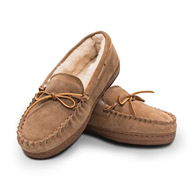 Women's Genuine Suede Leather Faux Fur Lined Moccasin Slippers Shoes, Classic Flat Moccasins for Women | Slippers