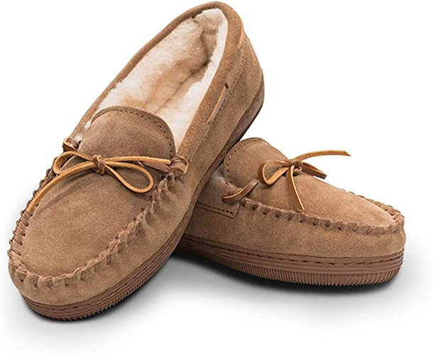 Amazon.com | Women's Genuine Suede Leather Faux Fur Lined Moccasin ...