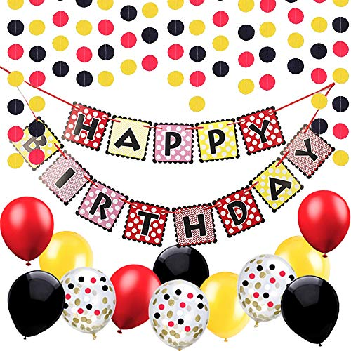 Black Red Yellow Happy Birthday Banner - Dots Paper Garland and Latex Balloons-for Mickey Mouse Birthday Party for $<!--$12.99-->