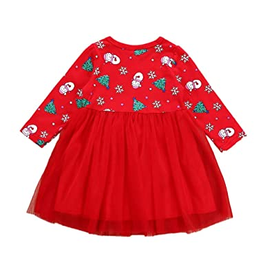 Bestow Navidad niño bebé niña de Dibujos Animados muñeco Vestido de impresión Ropa de de Navidad