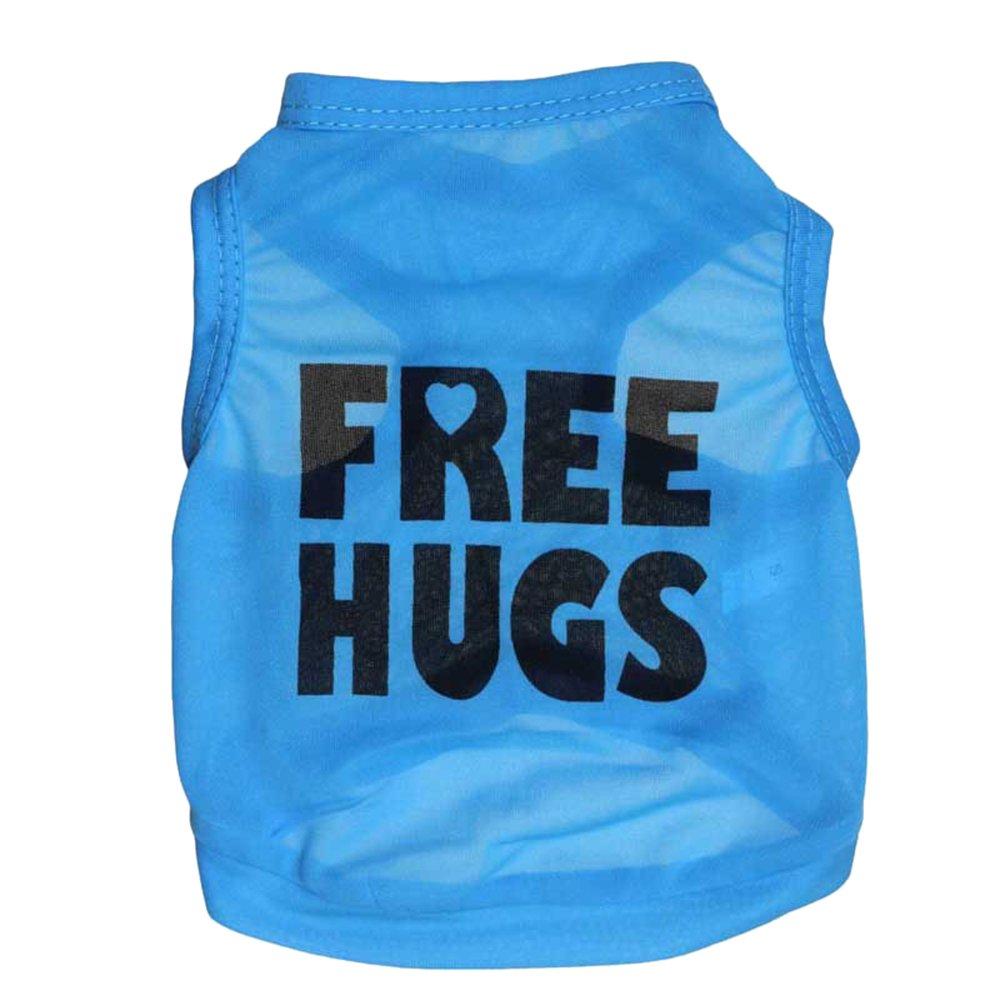 URIJK Chien Pull T-shirt imprimé câlins gratuits - Chat Débardeur Tee Shirt Chien Coton Vêtements d'été - Dog Vêtements Costumes pour Extra Small Medium Large Chien Pet Chiot Cat