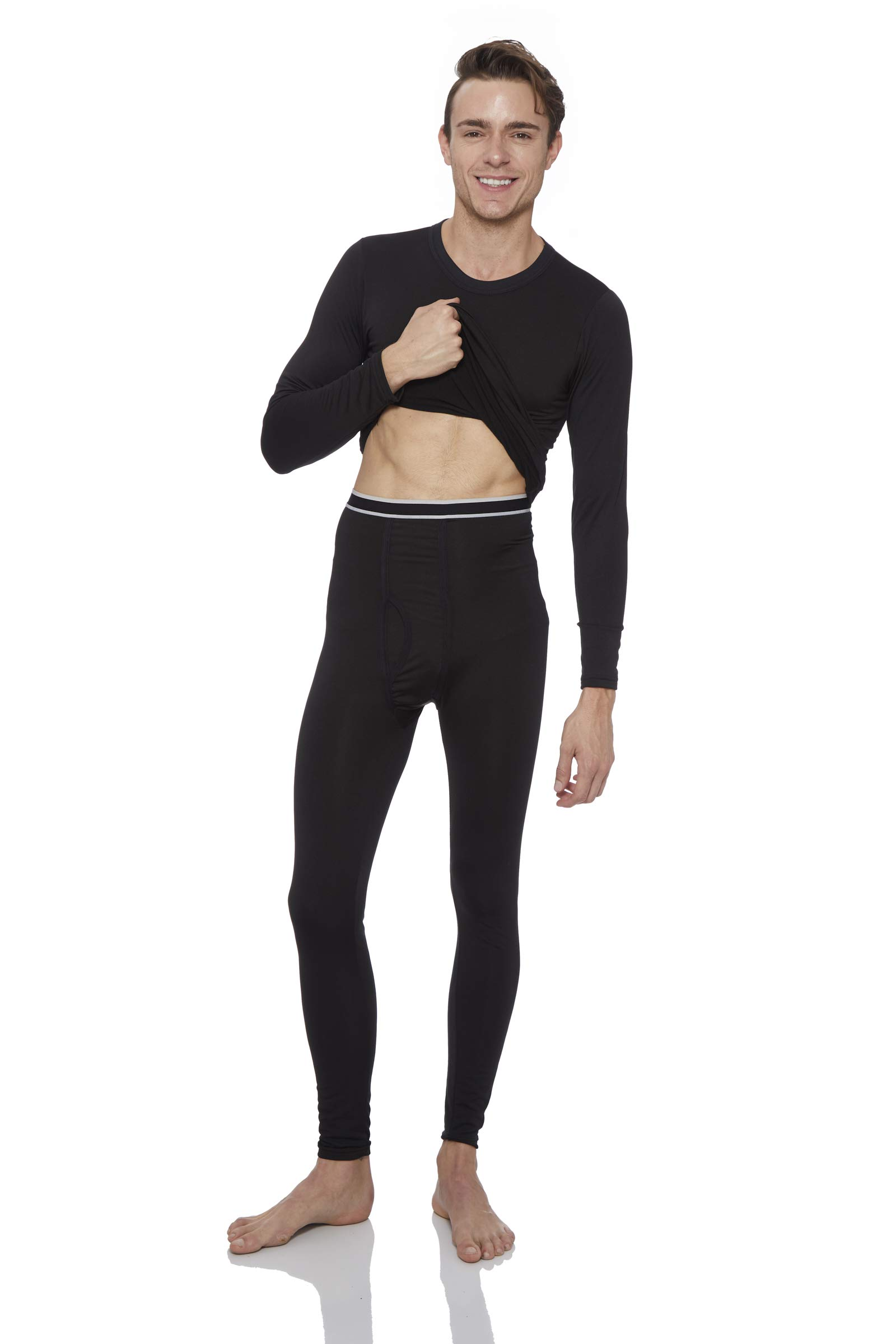 Rocky Thermal Underwear for Men Fleece Lined Thermals Men's Base Layer Long John Set Black by Rocky