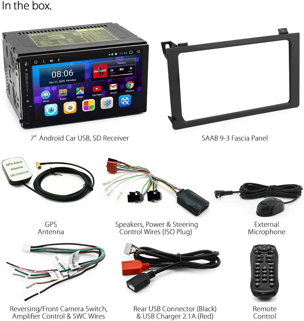 3/2007 2014/USB MP3/Radio st/ér/éo Fa/çade dautoradio kit GPS Android Lecteur de Voiture pour Saab 9