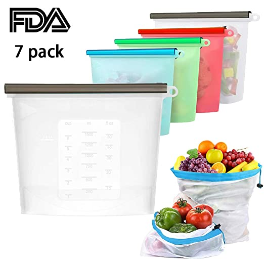 Bolsas de almacenamiento reutilizables para alimentos, bolsas de ...