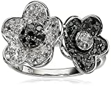 Sterling Silver Black and White Diamond Flower Ring (1/3 cttw, I-J Color, I2-I3 Clarity)