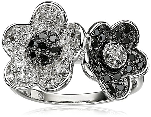 Sterling Silver Double Flower Black and White Diamond Ring (1/3 cttw, I-J Color, I2-I3 Clarity), Size 8 (Rhodium Cut Flower Diamond)