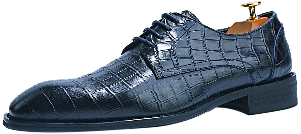 ELANROMAN Crocodile Pattern Leather Shoes Men's Oxford Luxury Dress Shoes Embossed Leather Shoes Navy US 9 EUR 42 Foot Length 296.00mm