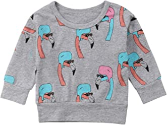 bc8c97367f9 Toddler Baby Girls Flamingo Tops Long Sleeve Cotton Warm Sweatshirts  Pullover Blouse Top Outdoor Outfit
