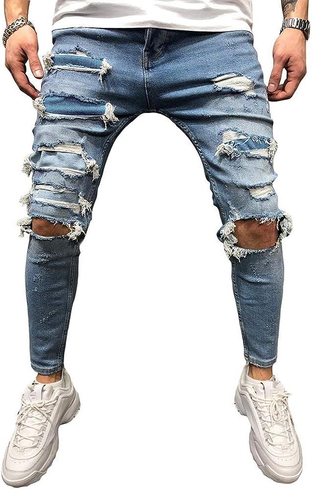 BMEIG Jeans Rasgados Hombres Hombres Vaqueros Denim Skinny Moda Pantalones Slim Fit Jeans Rotos Ripped Flaco Biker Jeans Diseñador Clásico Pantalones S-2XL Azul