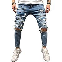 BMEIG Jeans Rasgados Hombres Hombres Vaqueros Denim Skinny Moda Pantalones Slim Fit Jeans Rotos Ripped Flaco Biker Jeans…
