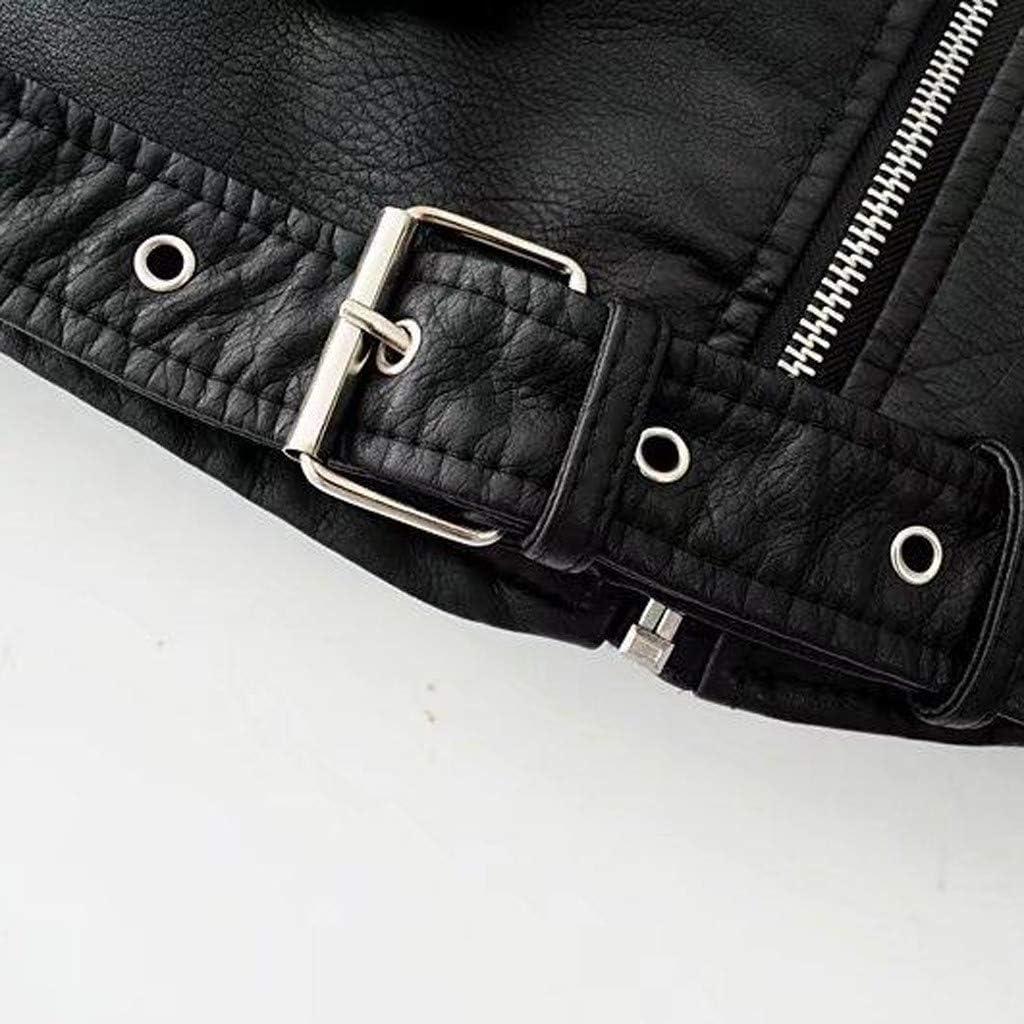 2DXuixsh Ladies Faux Leather Jacket Lapel Collar Motorcycle Zip Up Long Sleeve Moto Biker Short Coat Jacket Outwear