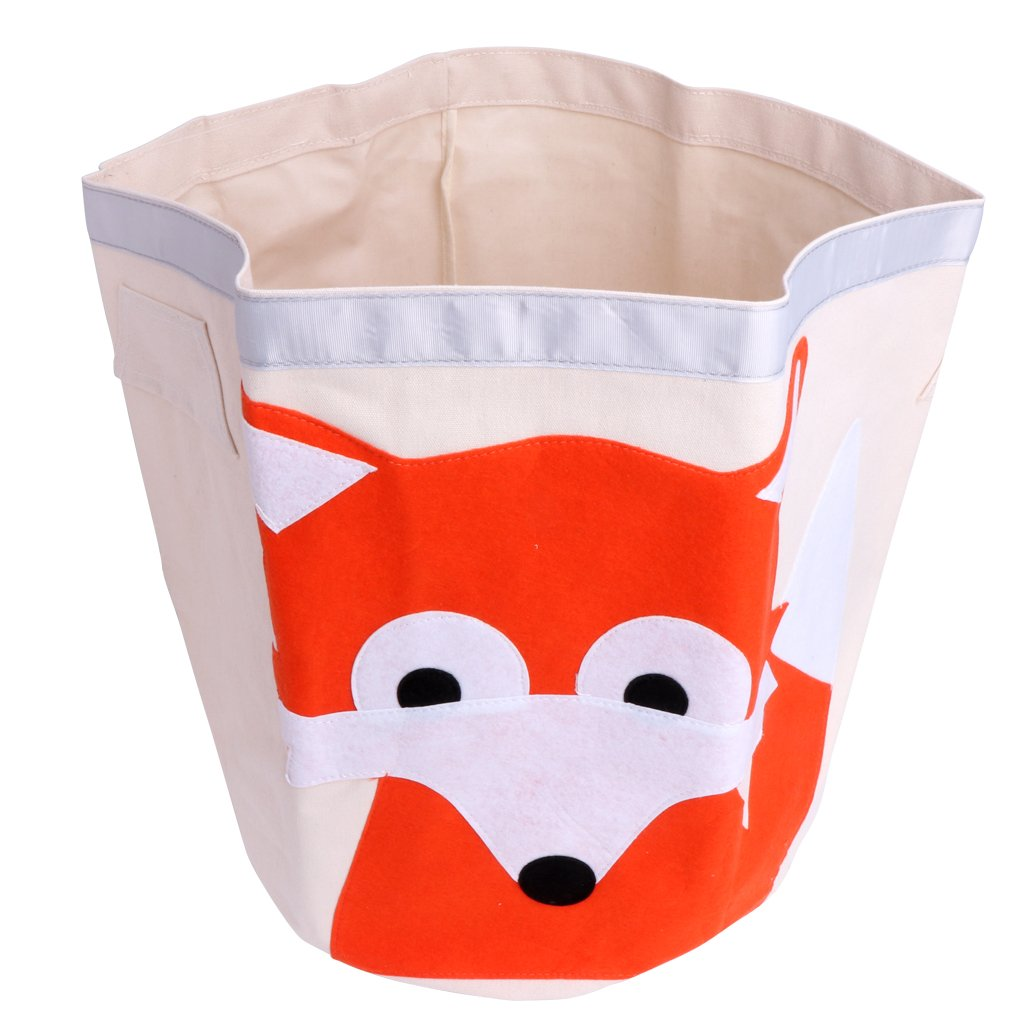 Aixia Oldable Dirty Clothes Basket,Cartoon Animal Sundries Clothes Basket Bags, Canvas (Fox)