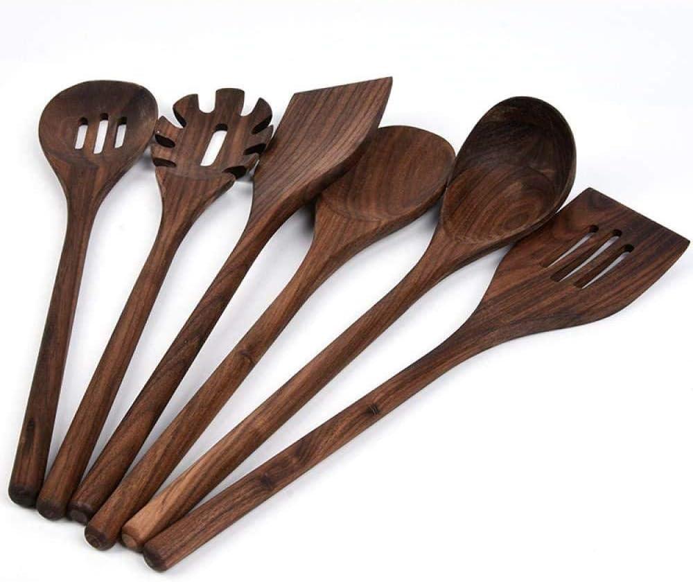 Heavy duty wooden mixing spoon kitchen utensil of Black Walnut wood