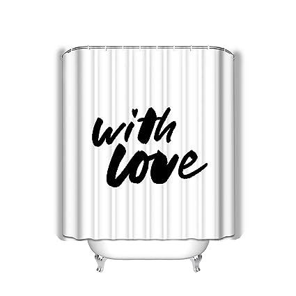 Amazon com: Xunulyn Beach Shower Curtain Love Slogan Ripped Paper