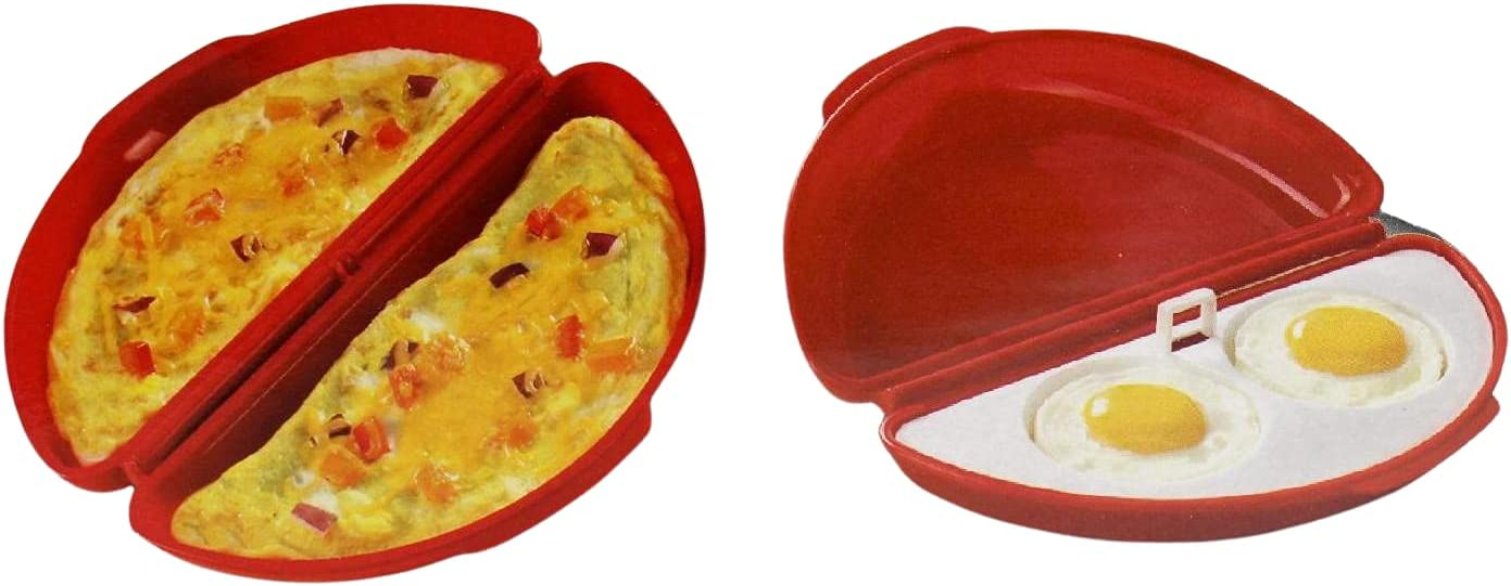 Microwaveable Microwave Omelet Pan and 2 Cavity Egg Poacher Set