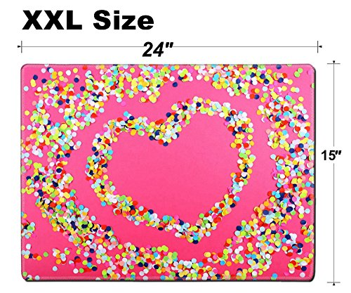 - Luxlady Extra Large Mouse Pad XXL Extended Non-Slip Rubber Gaming Mousepad 24x15 Inch, 3mm thick Stitched Edge Desk Mat IMAGE ID: 30593538 Confetti in shape of heart on pink background