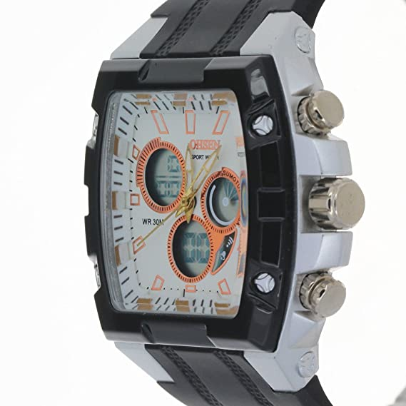 Oshen Negro Moda doble pantalla reloj deportivo