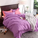 Embossing Bedding Sets Cotton-padded - MeMoreCool 100% Polyester Home Textiles Winter Autumn Warm Comfortable Quilt Cover and Flat Sheet Full Purple
