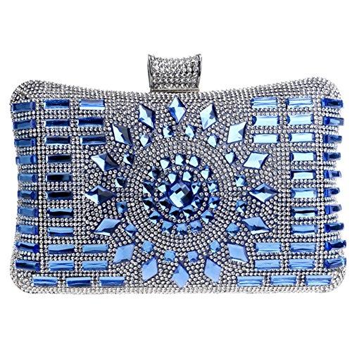 Carteras Diamantes Bolso Blue Boda Bolsas Noche Embrague Fiesta Cadena Mano Mujer Oro 1nX6qwnxWT