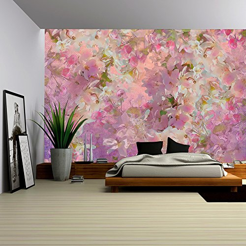 Floral Wall Murals - wall26 - Seamless pattern with spring cherry blossom. Painting style floral art - Removable Wall Mural | Self-adhesive Large Wallpaper - 100x144 inches